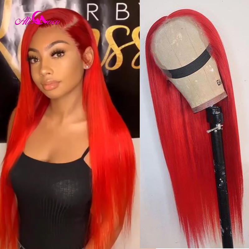 Ali Coco Red Straight Lace Front Wigs Pink Red Light Bule Purple Ombre Colored Human Hair Wigs For Black Women Pre Plucked