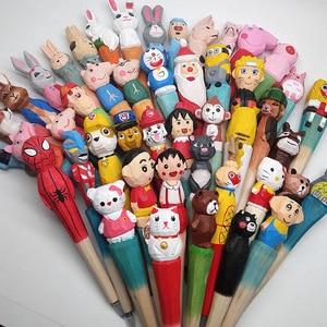 Image 2 - 20pcs/set Wholesale Cartoon Wedding Gifts Stationery Cute Handmade Wood Carving Pen Wholesale Wood Animal Pen for Kids