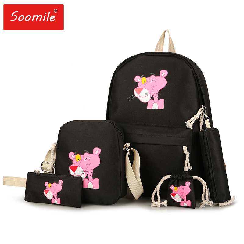 Travel Backpack Schoolbags Pink Girls Embroidery Female Cartoon Women Canvas Cute