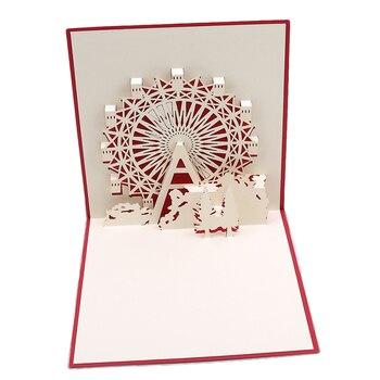Tarjetas Pop up 3D Popular up tarjetas año navidad regalo vacaciones feliz nueva noria 3D felicitación bebé rojo plegable tipo Retro