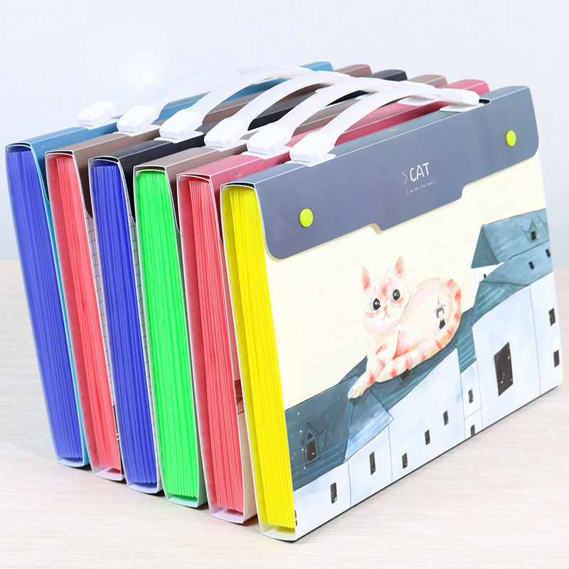 School File Folder Cartoon Expanding Wallet Document Organizer File Folder A4 Kawaii Style Six Types Available Large Capacity
