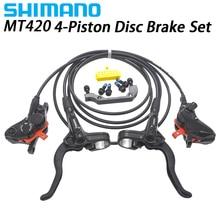 SHIMANO MT420 4 поршневой тормоз Горный велосипед Hidraulic дисковый тормоз набор передний+ задний br-MT401 br-MT420