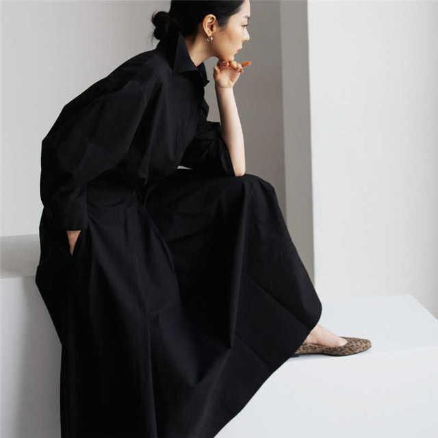 [EWQ] Korea Chic Autumn Casual Trend Women Solid New Lapel Single Button Loose Fashion Long-sleeved Shirt Dress 2021 16E1954 5