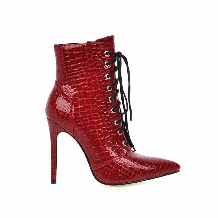 QUTAA 2020 PU Deri Moda Ince Yüksek Topuk Sonbahar Kış Kadın Ayakkabı Seksi Sivri Burun Lace Up Fermuar Orta Buzağı çizmeler Boyutu 34-43