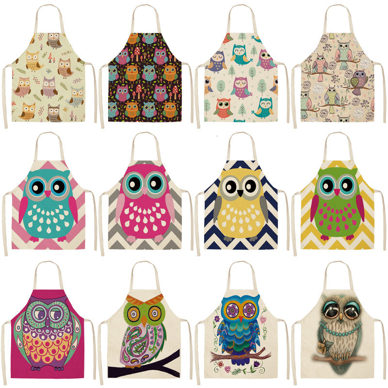 1Pcs Cartoon Owl Printed Kitchen Apron For Woman Sleeveless Cotton Linen Aprons For Cooking Home Cleaning Tools 53*65cm WQ0055