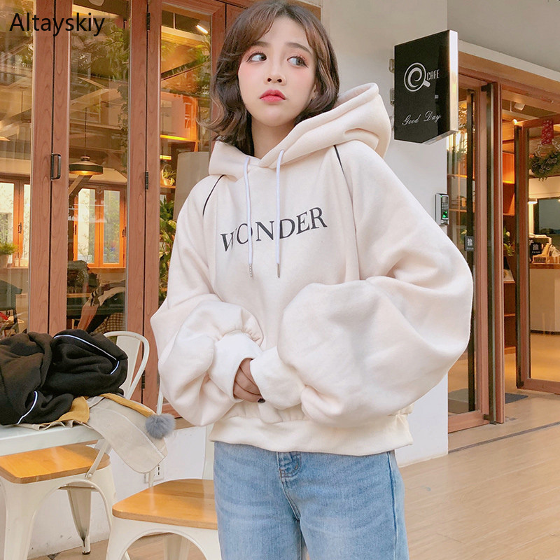 Hoodies Women Hooded Winter Thicker Plus Velvet Warm Soft Letter Printed Sweatshirts Womens Trendy Ulzzang Pullovers Chic Cute
