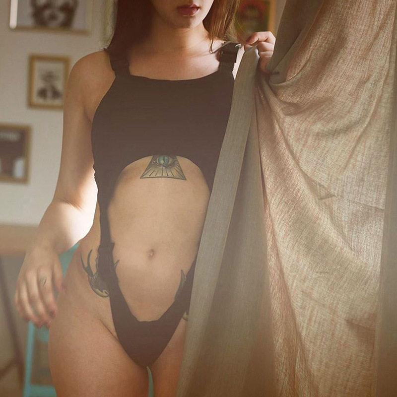 2020 Summer Women Hollow Out Sexy Bodysuit Fashion Casual Strap Bodycon Black Party Club Bodysuit Sleeveless Body for Women