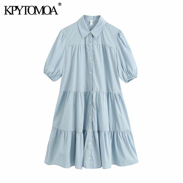 KPYTOMOA Women 2020 Sweet Fashion Ruffled White Mini Dress Vintage Lapel Collar Puff Sleeve Female Dresses Chic Vestidos Mujer 6