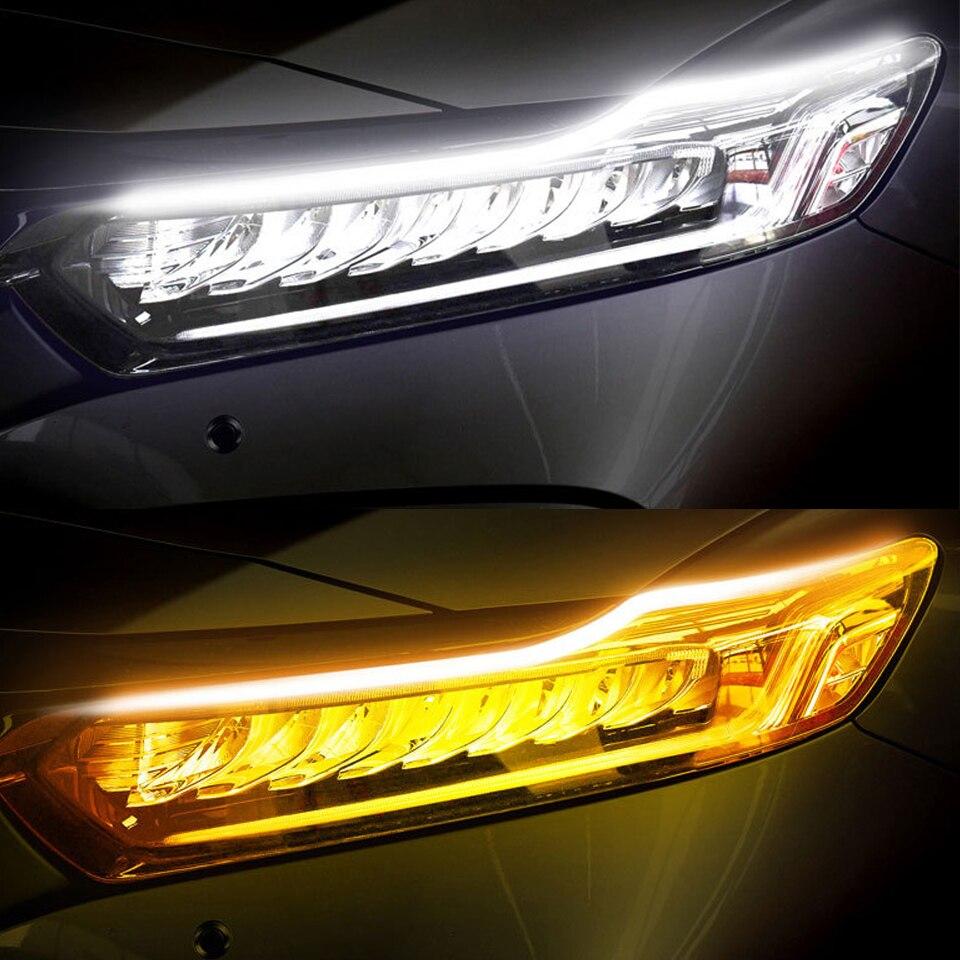2X новые старт-Scan светодиодный авто DRL Габаритные огни авто течет поворотов направляющая рейка лампа автомобиля Средства для укладки волос