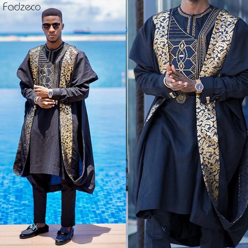 Fadzeco Agbada 2019 Men's African 3PCS Plus Size Dashiki Embroidery Boubous Tops Short And Pants Mens Clothes Robe Bazin Outfits