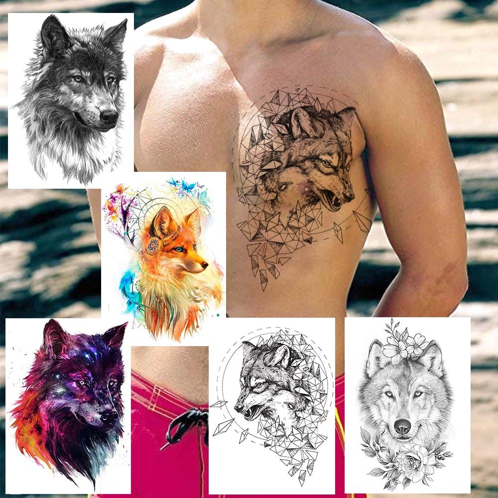 Creative Geometric Wolf Temporary Tattoos Fake Flower Dreamcatcher Planets Tatoo Sticker Adult's Fashion Body Art Tatoo For Show(China)