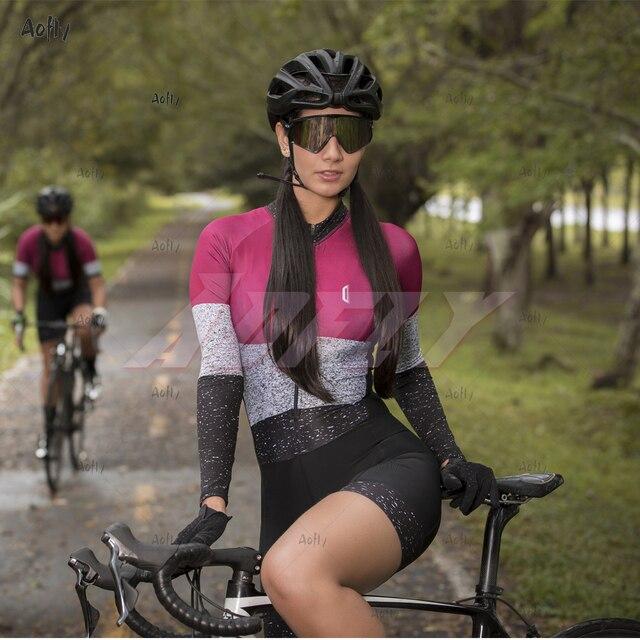 Kafitt jasper coleção manga longa ciclismo skinsuit pro feminino bicicleta macacão uniforme ciclismo triathlon ciclismo skinsuit 5