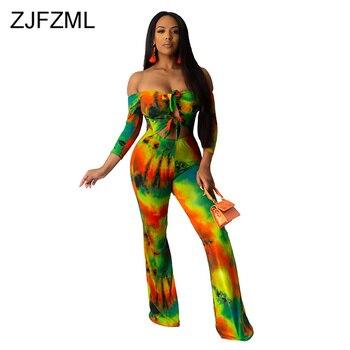 Waist Band Cut Out Sexy Skinny Bodysuit Women Tie Dye Print Full Sleeve Bodycon Romper Summer Off Shoulder Bell Bottom Jumpsuit