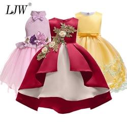 Bebê Da Menina de Seda bordado Vestido de Princesa para o Casamento do partido Dos Miúdos Vestidos para Menina Da Criança Crianças Moda Roupas de Natal