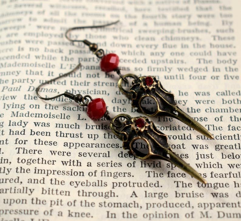 Raven Skull Earrings, Bird Skull Earrings, Gothic Earrings Raven Skull Jewelry Gothic Jewelry Steampunk Earrings Skull Jewellery