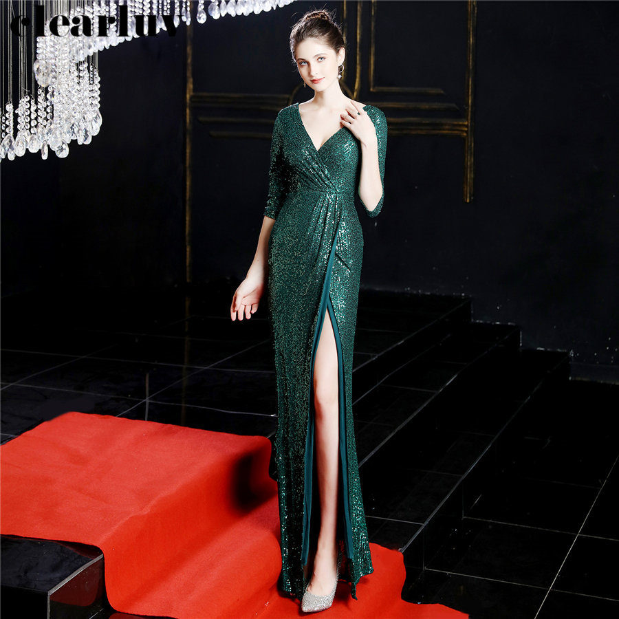 Three Quarter Sleeve Formal Gowns Sequins Women Party Dress DX246-2 2019 Green Plus Size Mermaid Evening Dresses Robe De Soiree