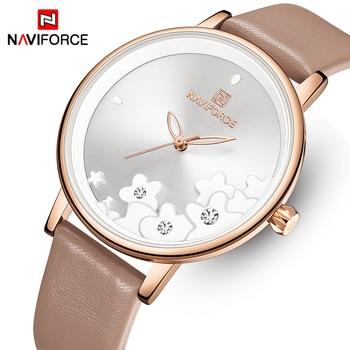 NAVIFORCE 5012 Women Watches Top Brand Luxury Fashion Unique Flower Design Wrist Watch with box