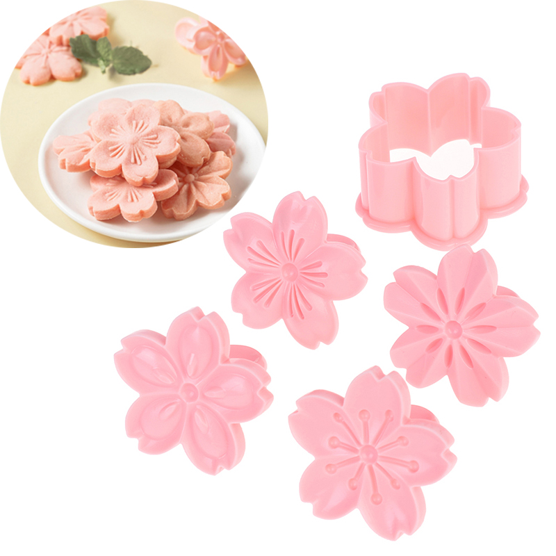 5pcs/lot Sakura Cookie Mold Stamp Biscuit Mold Cutter Pink Cherry Blossom Mold Flower Charm DIY Floral Mold Fondant Baking Tool