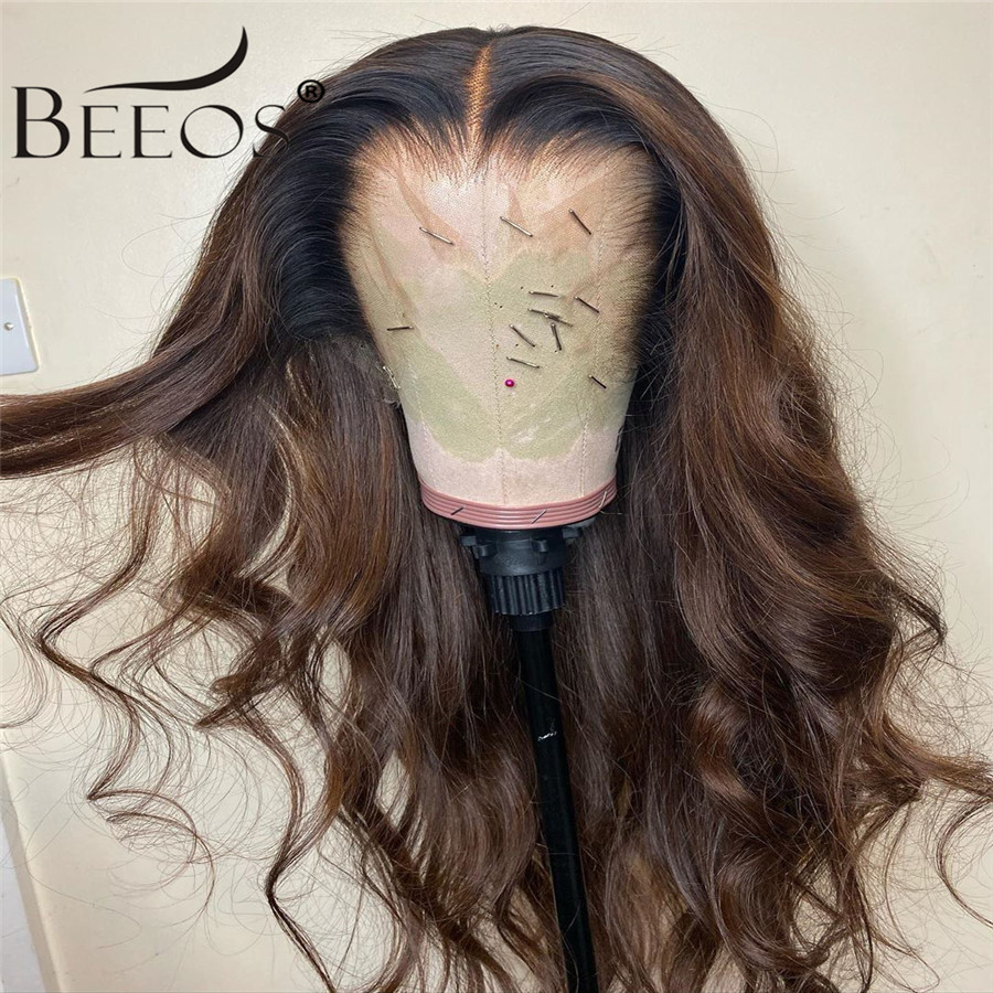 360 Colored Human Hair Wigs Brown Color Wigs Long Body Wave Remy Preplucked Ombre Brown Lace Front Wig Bleached Knots