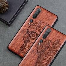 Oyma kafatası ahşap telefon kılıfı için Xiaomi mi 10 Ultra mi 9t pro 9 se 8 lite Mi A3 xiaomi redmi note 9 8 pro k30 ahşap kılıf kapak