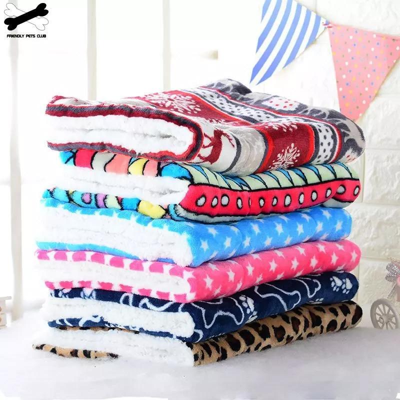 Winter Warm Pet Dog Soft Cushion Large Print Flannel Cotton Mattress Cat Pet Mat Bed Pad Rug Cartoon Printed Cat And Dog Pad 1