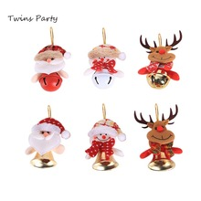 Twins Party Christmas Bell Pendant Ornaments Santa Claus Deer 2019 Decor For Home Tree Gifts