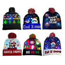 Светодиодный Рождественский вязаный головной убор, Детский Светильник, Рождественская вязаная Шапочка, шапка для взрослых, свитер, Рождественская шапка Санты для детей и взрослых на Рождество