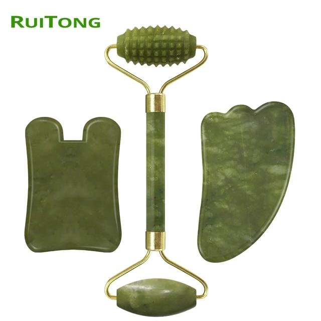 Drop Shipping Face Massage  Jade Roller Facial Massager Guasha Board Set 100% Natural Gouache Scraper Real Stone Jade Roller 4
