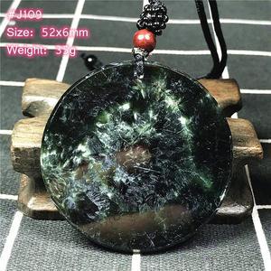 Image 4 - למעלה טבעי ירוק Seraphinite תליון שרשרת לאישה ליידי גברים מזל קריסטל עגול חרוזים אבן מתכוונן חבל תכשיטי AAAAA