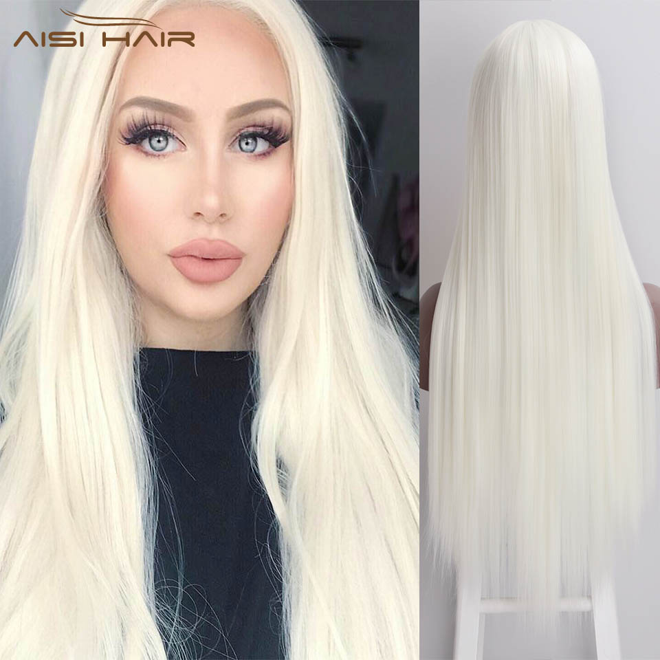 I's A Wig Long Straight Synthetic Lace Front Wigs For Women White Orange Cosplay Red Pink Lace Wig High Temperature Fiber Hair