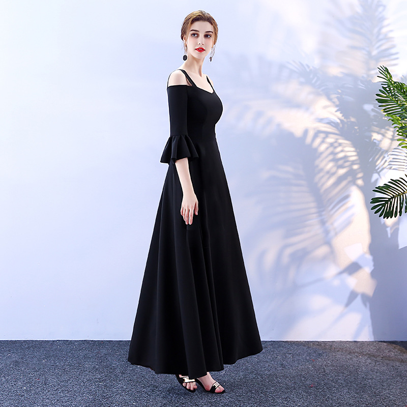 2019 bridesmaid dress long black chiffon floor length for wedding guest cheap eveing wear prom party gowns