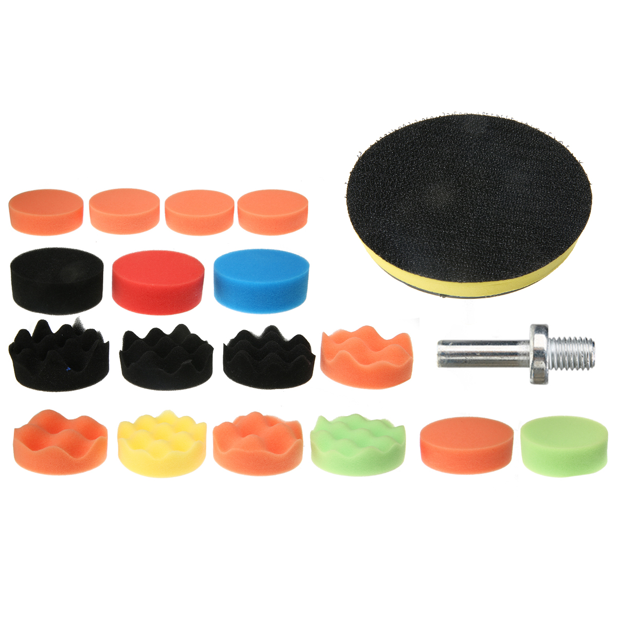 18Pcs 3'' Polishing Sponge Polishing Attachment Drill Polishing Pad Set For Car Polisher Sponge Pad + Polishing Wheel