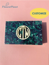 FlaneurPlanet Handmade Monogram Box Fine Acetate Jewelry Box With Initials Customized Gift For Bride