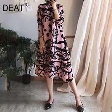 Deat 2021 vestido plissado feminino sete manga elegante listrado banquete do vintage nova moda outono high end dobra roupas ar544