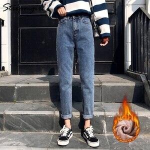 Image 2 - Cao Cấp Đen Ấm Quần Jean Nữ Làm Dày Trang Hậu Cung Quần Denim Mùa Đông Vintage Nữ Bạn Trai Quần Jean Nữ Mùa Đông Nhung