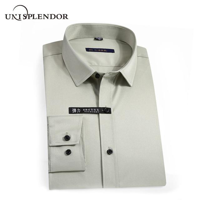 2020 גברים חולצות אביב סתיו חדש הגעה Slim Fit זכר חולצה מוצק ארוך שרוול בסגנון בריטי כותנה גברים של חולצה להאריך ימים יותר YN10383