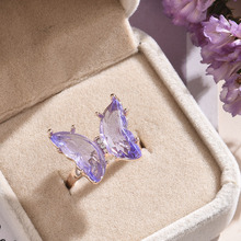 New Butterfly Ring Purple Fashion Popular Temperament Sweet Romantic Female Jewelry Girl Wedding Gift cheap yanqueens CN(Origin) Zinc Alloy Women Metal Cute Romantic Cocktail Ring Animal All Compatible AL927-AL929 Prong Setting