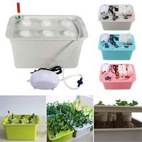 수경 시스템 키트 6 구멍 묘목 꽃 냄비 키트 거품 실내 정원 주방 캐비닛 수경 재배 식물 성장 보