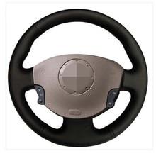Osłona na kierownicę do samochodu miękkie czarne prawdziwa skóry dla Renault Megane 2 2002-2009 Kangoo (ZE) 2008- 2013 Scenic 2 2003-2010