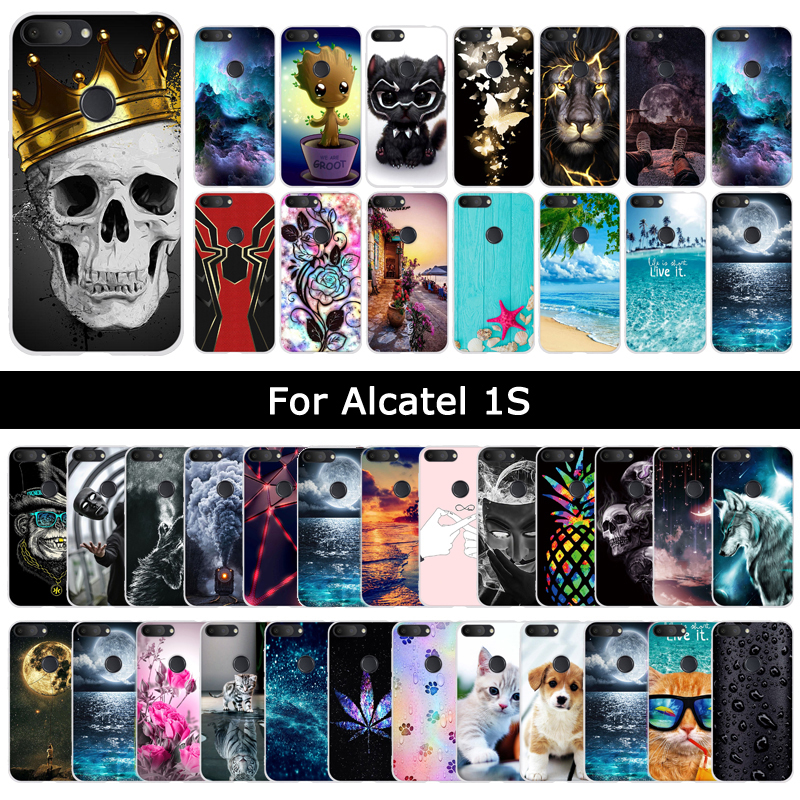 Case For Alcatel 1S 1 S 2019 Cartoon Cat Cute Patterned Soft Silicone Back Cover For Alcatels Protective Phone Shell Cases Coque