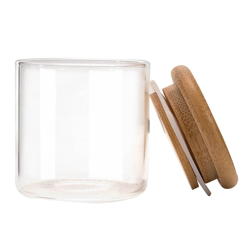 HONEYPUFF Natrual Bamboo контейнер для хранения, банка для хранения 125 мл, стеклянные бутылки для хранения, банки с бамбуковой крышкой, герметичные травы
