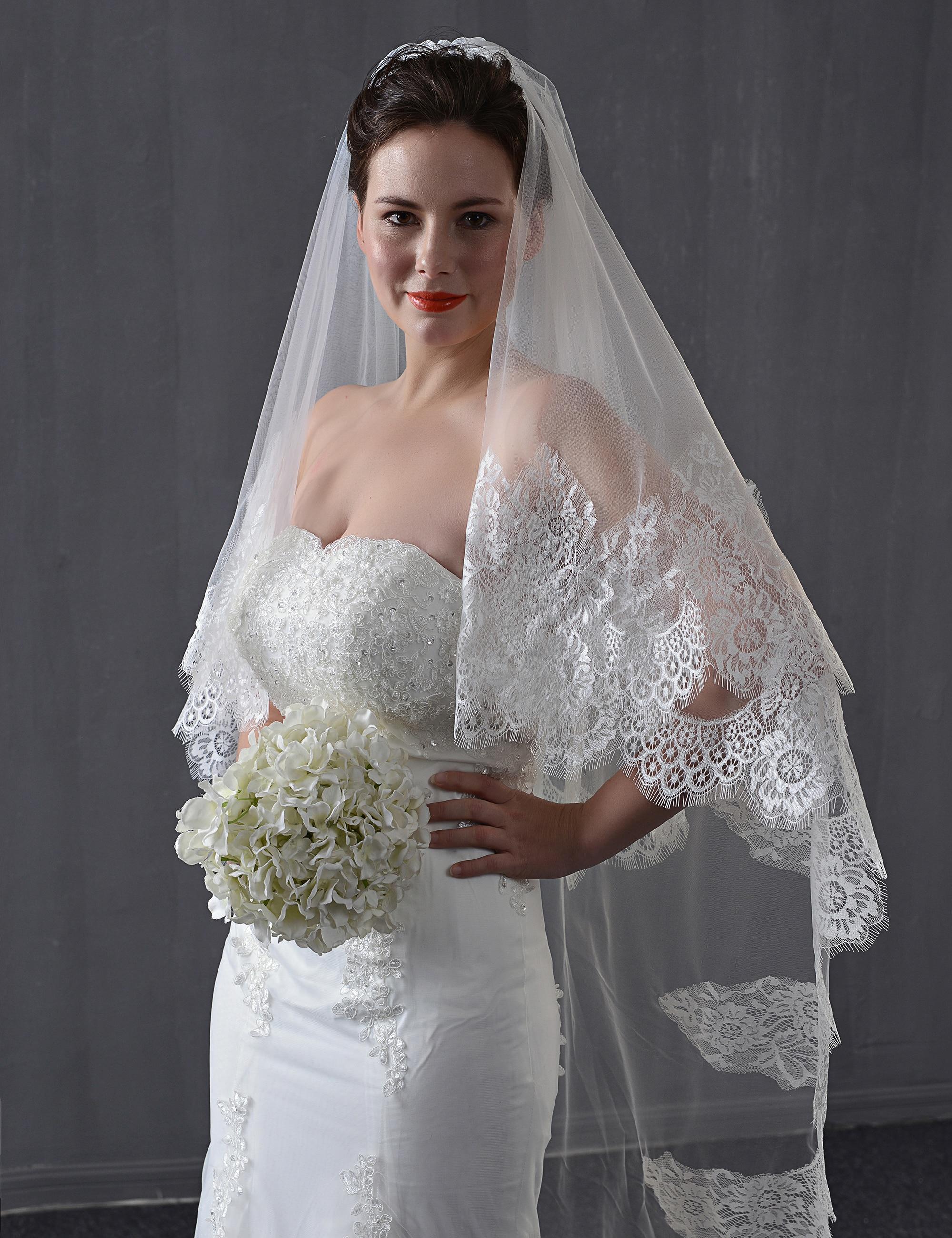 Vintage Lace Wedding Veils Cathedral Bridal Eyelash Lace Wedding  Bridal Veils Custom 2 Tiers Custom