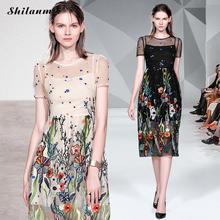 цены на Elegant Embroidered Floral Hollow Dress Women England Style Mesh Short Sleeve A-Line Dresses Female Luxury Party Dress Summer в интернет-магазинах