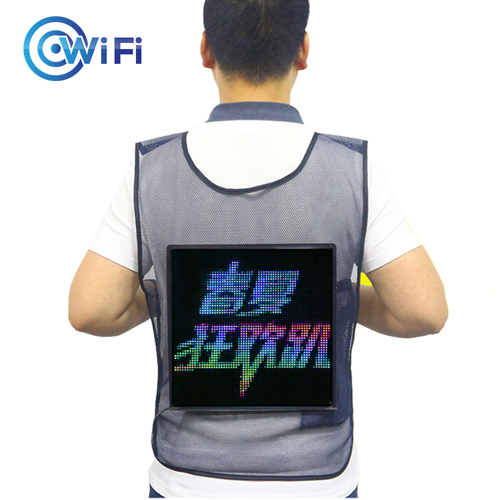 Advertising LED Vest With LED Screen WIFI APP Control LED Display Clothing Creative Eye Catching LED Backpack For Marketing
