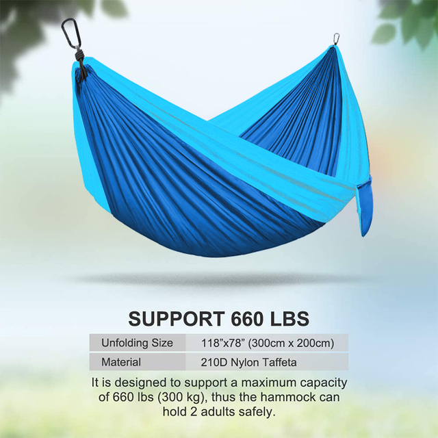 Double Hammock Adult Outdoor/Indoor Furniture Camping Parachute Backpack Travel Survival Hunting Sleeping Portable Hanging Bed