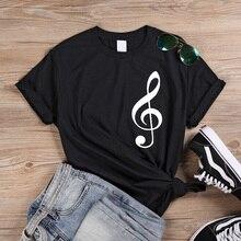 ONSEME Musical Note Pattern print Streetwear tshirt Women Funny female T-shirt e