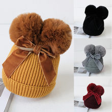 Kids Infant Baby Girls Boys Winter Warm Casual Cute Double Pompom Bow-knot Knitted Thick Beanie Cap Hat(China)