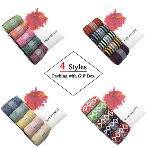Image 2 - 5 Pairs/Lot Wool Socks Women Winter Harajuku Japanese Bohemian Cashmere Warm Socks Ladies Girl Christmas Gift