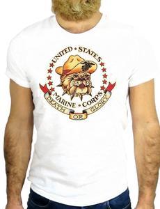 New 2019 Fashion 100% Cotton For Man Shirts Tatto Bulldog United States Marine Corp Death Or Glory Printing On T Shirts