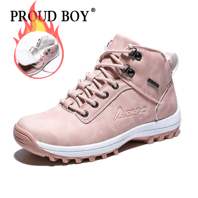 Women hiking shoes winter waterproof Non-Slip Outdoor boots With Fur Snow Sneakers Camping Sport Trekking Shoes for woman plush
